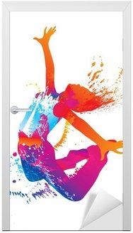 Nálepka na Dveře Tančící dívka s barevnými skvrnami a šplouchá na bílém