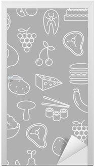 Nálepka na Dveře Tenká čára ikony bezproblémové vzor. Potraviny, zelenina a ovoce ikony šedé pozadí pro webové stránky, aplikace, prezentací, karet, šablon nebo blogy.