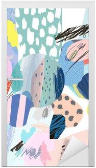 Nálepka na Dveře Trendy tvůrčí koláž s různými texturami a tvary. Moderní grafický design. Neobvyklé umělecká díla. Vektor. Izolovaný