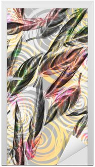 Nálepka na Dveře Tropická zeleň bezešvé vzor. Barevné akvarelové listy exotické rostliny Calathea Whitestar spirální geometrickým vzorem, mísí účinek. Textilního tisku.