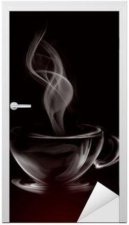 Nálepka na Dveře Umělecké Ilustrace Smoke šálek kávy na černé