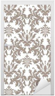 Nálepka na Dveře Vektor Barokní Vintage květinové damaškové vzorek. Luxury Classic ornament, Royal Victorian textury na tapety, textilního, tkaninou. barva hnědá
