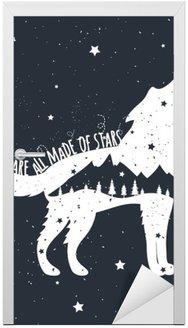 Nálepka na Dveře Vektorové ilustrace s Howlin 'Wolf, hory a stromy
