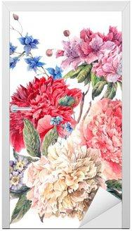 Nálepka na Dveře Vintage květinové pohlednici s květinové pivoňky