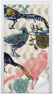 Nálepka na Dveře Vintage pozadí s ptáky a květiny, módní vzor