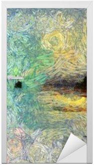 Nálepka na Dveře Vivid Vířící Painting of Islands západu slunce nebo svítání