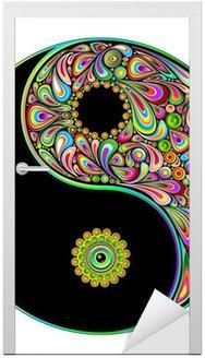 Nálepka na Dveře Yin Yang Symbol Psychedelic Art Design-Simbolo Psichedelico