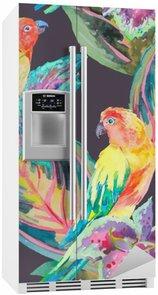 Nálepka na Ledničku Akvarel Papoušci .Tropical květiny a listy.