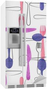 Nálepka na Ledničku Akvarel příbory bezešvé vzor v růžové a fialové barvy. Vektorové pozadí s lžíce, vidličky a nože.