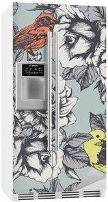 Nálepka na Ledničku Bezešvé květinový vzor s ručně tažené růže a ptáky. Vektor