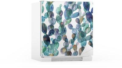 Nálepka na Ledničku Cactus vzor ve stylu akvarelu