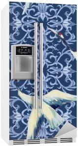 Nálepka na Ledničku Čínský akvarel bezešvé vzor