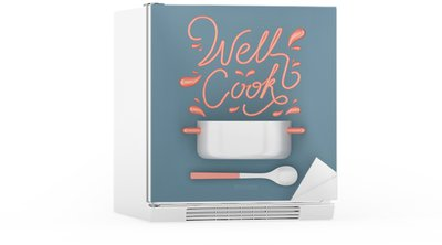 Nálepka na Ledničku Dobře vařit s konvičkou moderní 3D renderování 3D obrázek citát