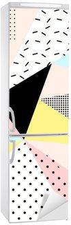Nálepka na Ledničku Geometrické tvary Memphis background.Retro za pozvání, vizitky, plakátu nebo nápisu.