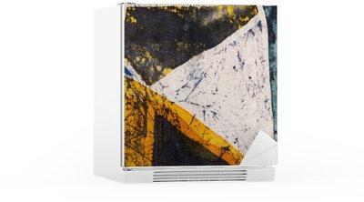 Nálepka na Ledničku Geometrie, horké batikování, pozadí textury, ruční práce na hedvábí, abstraktní umění surrealismus
