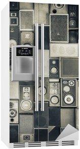 Nálepka na Ledničku Hudební reproduktory na zeď v jednobarevném stylu vintage