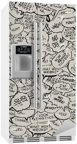 Nálepka na Ledničku Koláž z komické bubliny knihy dialog