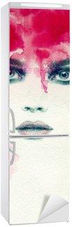 Nálepka na Ledničku Krásná žena. akvarel ilustrace