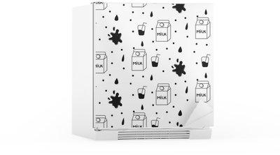 Nálepka na Ledničku Mléko a cookie bezešvé vektoru vzor. Dairy zábava černé a bílé vzor s mlékem kartonu, mléko a šplouchnutí kapky na bílém.