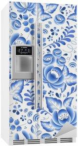 Nálepka na Ledničku Modré květy květinový ruština porcelán krásný lidový ornament.