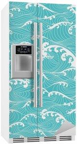 Nálepka na Ledničku Mořské vlny, pruhy vzor bezešvé ručně malovaná asijském stylu