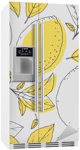 Nálepka na Ledničku Nastínit vzor bezešvé s rukou vypracován citronu a listí. Doodle ovoce na obalu nebo design kuchyně