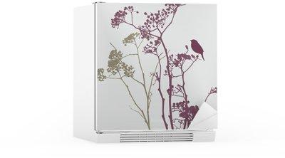 Nálepka na Ledničku Pták na lučních květin