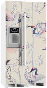 Nálepka na Ledničku Ručně tažené akvarel bezproblémové vzorek s bílými japonských tančících jeřábů. Opakovaná pozadí s jemnými ptáky a bambusu