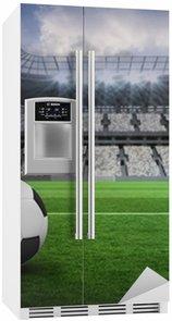 Nálepka na Ledničku Složený obraz z černé a bílé kožené fotbal