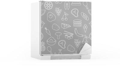 Nálepka na Ledničku Tenká čára ikony bezproblémové vzor. Potraviny, zelenina a ovoce ikony šedé pozadí pro webové stránky, aplikace, prezentací, karet, šablon nebo blogy.