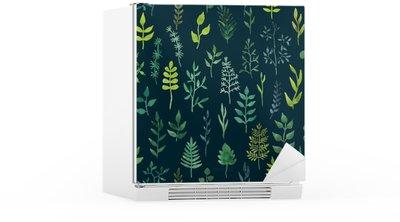Nálepka na Ledničku Vektorové zelené akvarel květinové bezproblémové vzorek.
