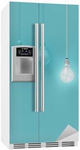 Nálepka na Ledničku Visí žárovky s zářící jednu jinou představu o světle modrém pozadí, minimální koncept nápad, ploché laické uživatele, nahoře