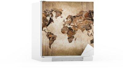 Nálepka na Ledničku Wood mapa světa, vintage textury