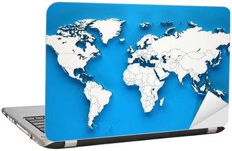 Nálepka na Notebook 3D svět měkké stíny - Modré pozadí