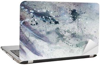 Nálepka na Notebook Abstraktní malby s fuzzy a vitráží konstrukce s jemným peřím siluetu.
