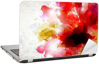 Nálepka na Notebook Abstraktní pozadí s červenými a růžovými prvky tvoří květ