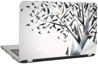 Nálepka na Notebook Abstraktní strom s ptáky origami.