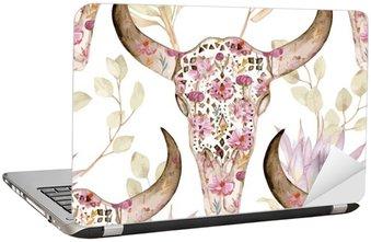 Nálepka na Notebook Akvarel bezešvé vzor s lebkou v květech Protea. Květinová výzdoba, vektorové ilustrace