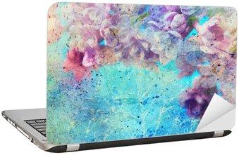 Nálepka na Notebook Akvarel drmolit a krásné fialové květy