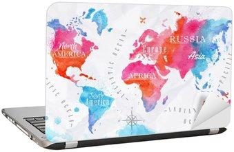 Nálepka na Notebook Akvarel mapa světa růžová modrá