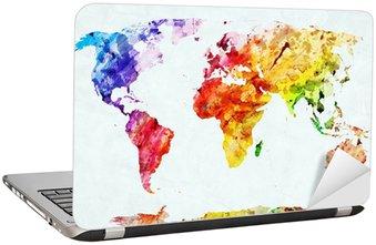 Nálepka na Notebook Akvarel mapa světa