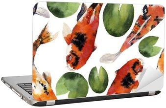 Nálepka na Notebook Akvarel orientální duha kapr s vodou lilie bezproblémové vzorek. Koi ryby ornament na bílém pozadí. Podvodní ilustrace pro návrh, pozadí nebo textilie