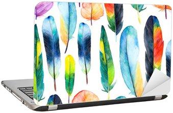 Nálepka na Notebook Akvarel peří set.Pattern s rukou vypracován peřím
