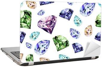 Nálepka na Notebook Akvarel vzor s realistickým diamantu.