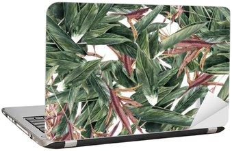 Nálepka na Notebook Akvarel z listů a květů, bezešvé vzor