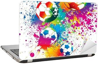 Nálepka na Notebook Barevné fotbalové míče na bílém pozadí