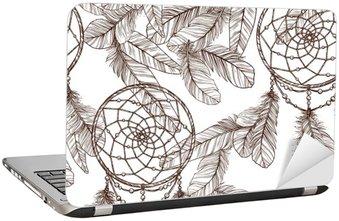 Nálepka na Notebook Bezešvé černobílý vzorek S Dreamcatcher a peří