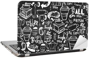 Nálepka na Notebook Bezešvé ručně kreslených kávy bezešvé vzor. Káva vzor s nápisem. vzor vektor Káva na tmavém pozadí pro balení, bannery.