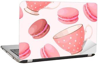 Nálepka na Notebook Bezešvé šálky a macarons