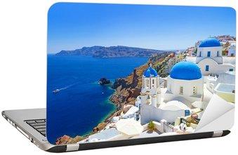 Nálepka na Notebook Bílá architektura Oia vesnice na ostrově Santorini, Řecko